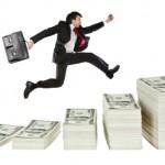 man runs up money steps