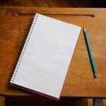old desk pencil notebook