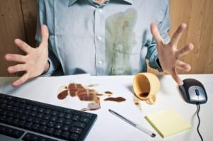 spilled coffee on desk
