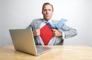 superhero at laptop